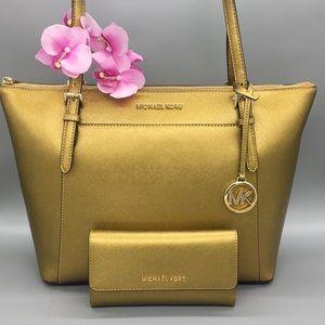 MK Ciara Lg Tote & Wallet Lg Trifold & Key Charm